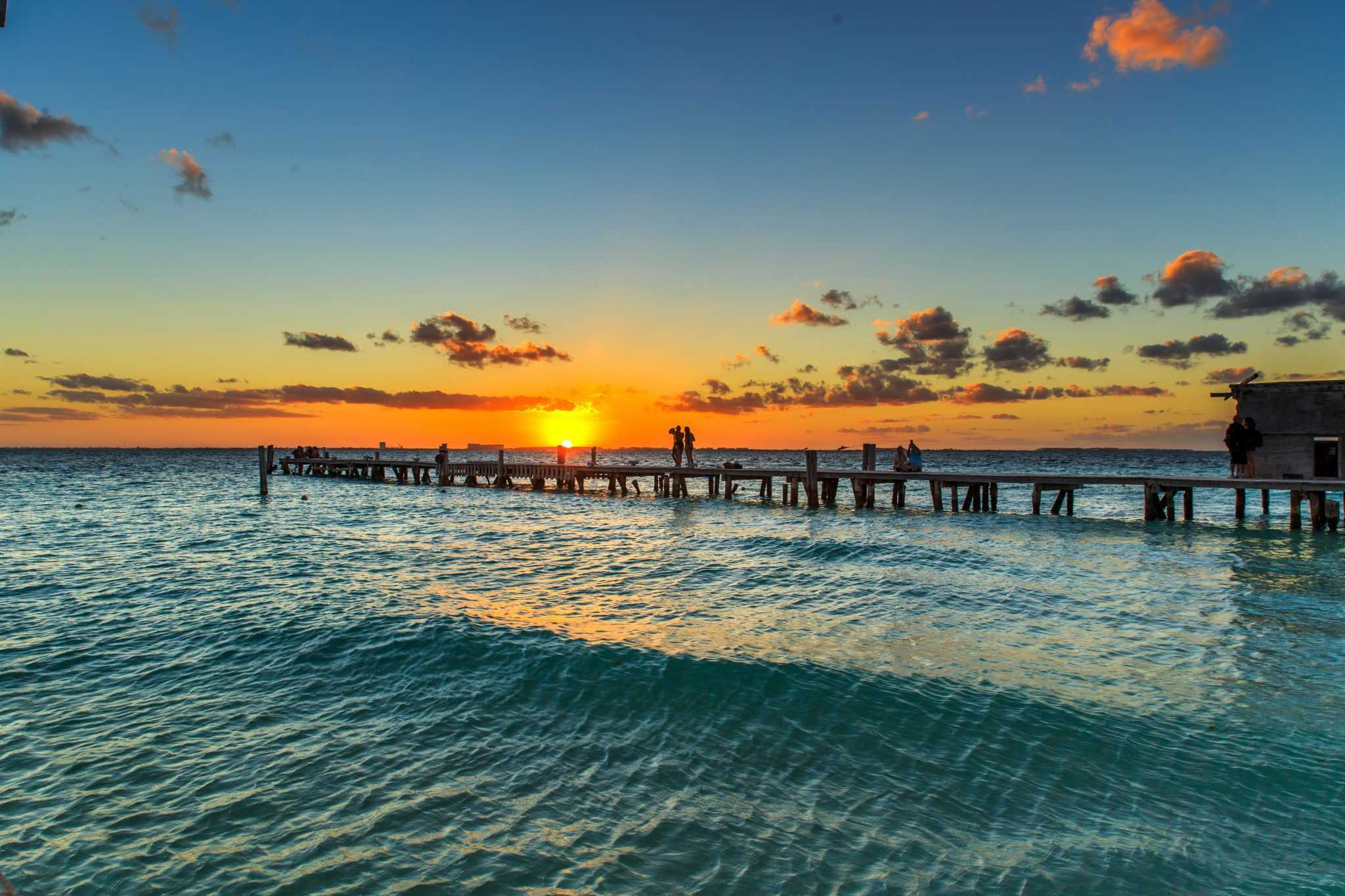 Isla Mujeres Pier at Sunset